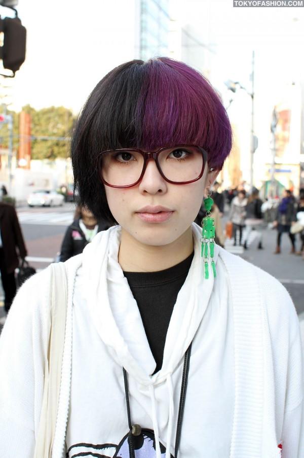 Colored Hair & Glasses in Harajuku