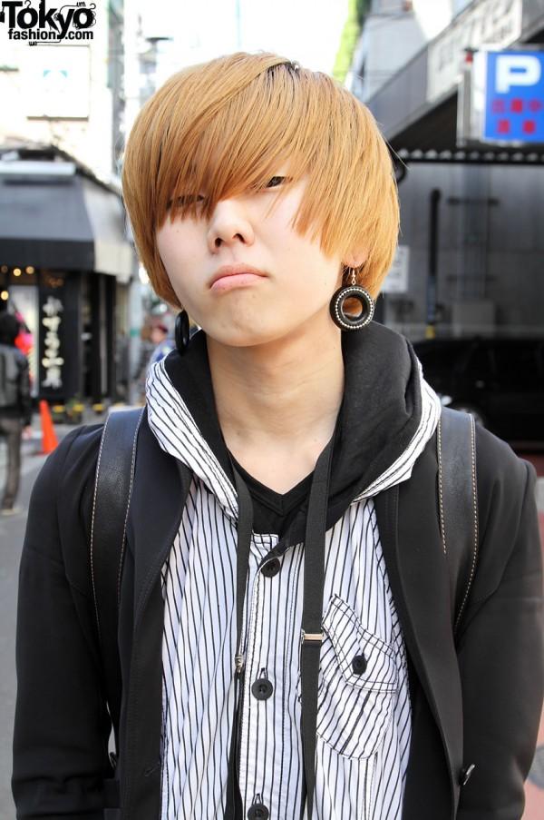 Red hair, earrings and hood