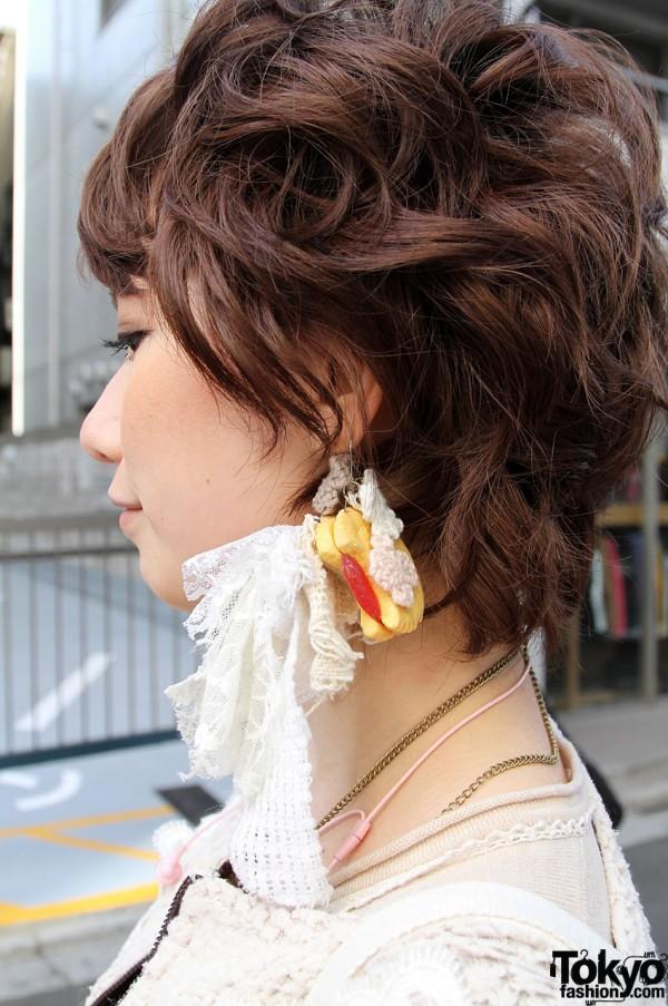 Handmade lace earring