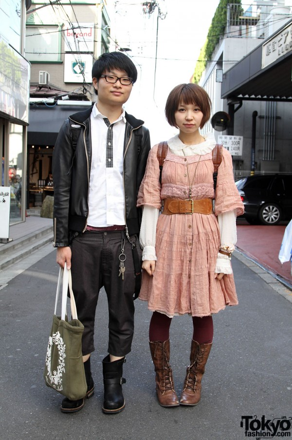 Pink Vintage Dress and Hanging Suspenders in Harajuku