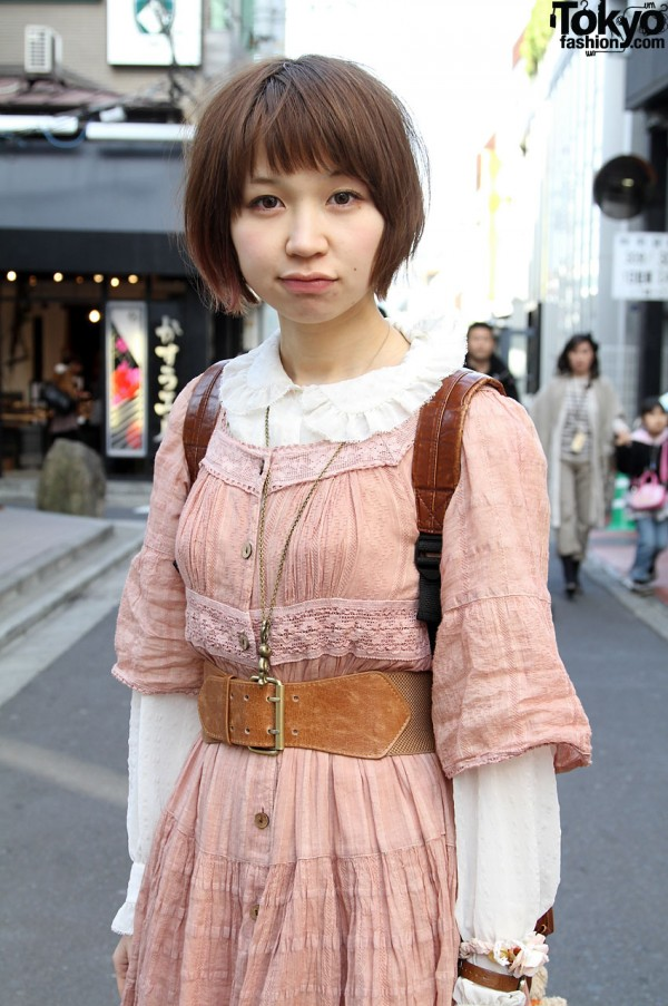 Japanese Girls with vintage dress and ruffled blouse