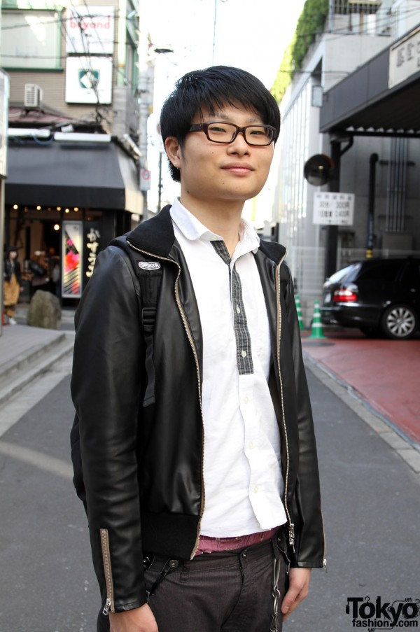 Japanese guy with glasses and black leather jacket