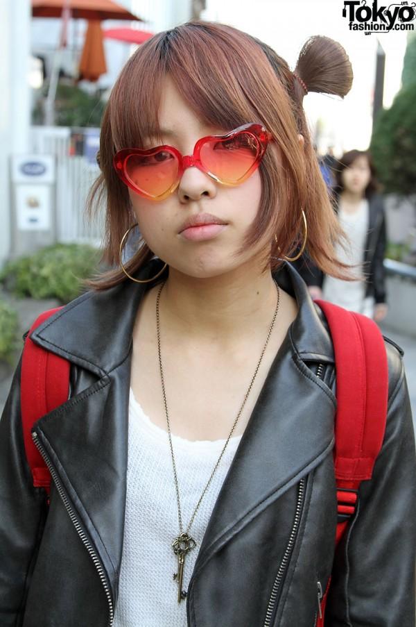 Heart Sunglasses and Hoop Earrings