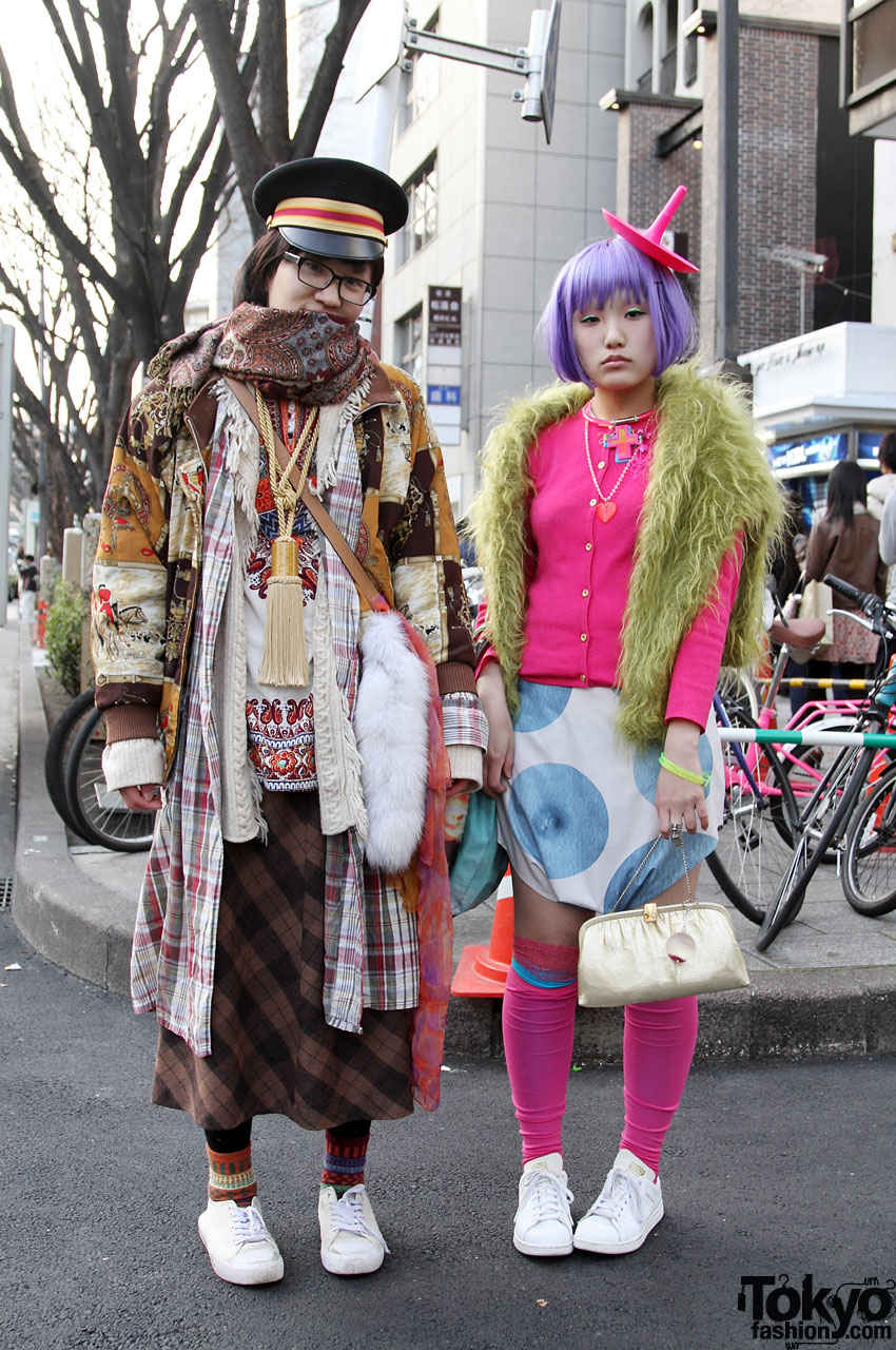 A cute Japanese couple with white shoes and vintage outfits in Harajuku.