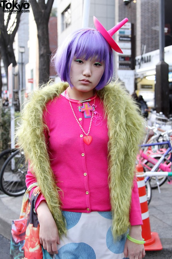 Japanese girl in pink with purple hair