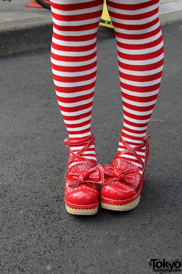 Red & White Stockings, Red Shoes with Bows