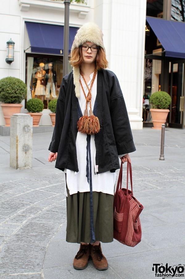Furry hat, karategi and tassel necklace