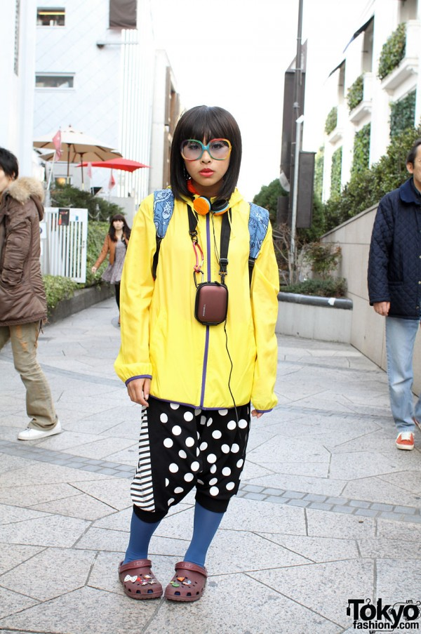 Girl in Rainbow Glasses, Drop Crotch Pants & Crocs