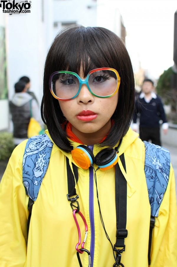 Rainbow glasses and headphones