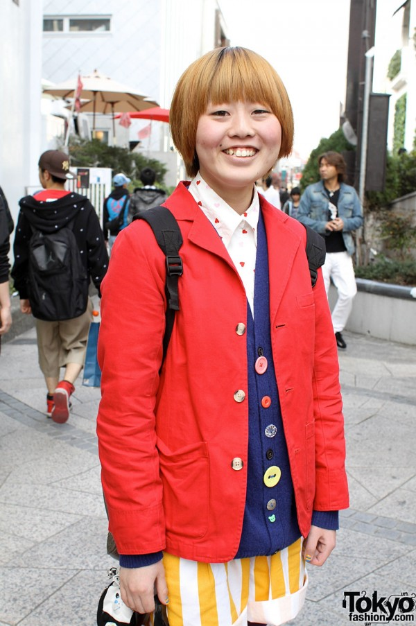 Red blazer and cute buttoned vest