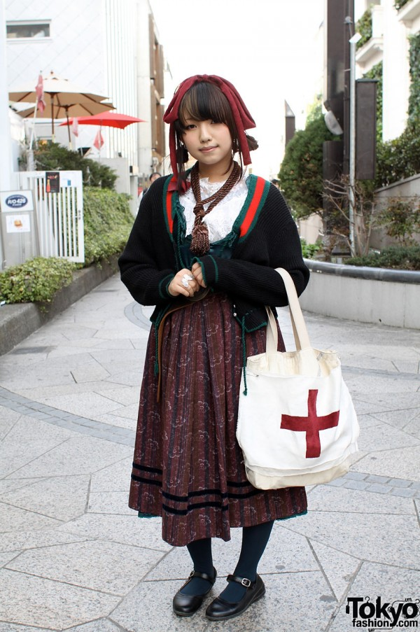 Japanese Girl with Grimoire Skirt & Vintage Sweater