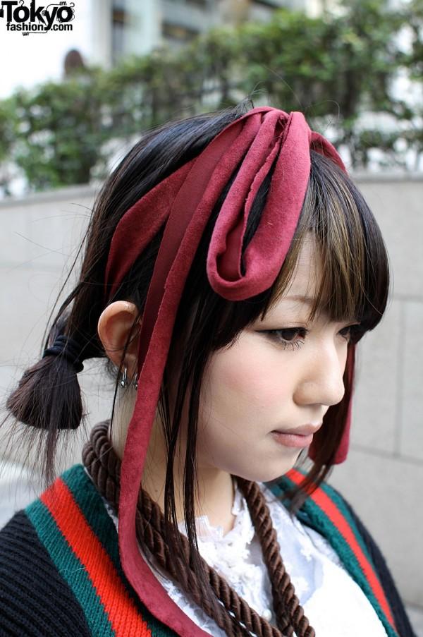 Large Maroon Hair Bow