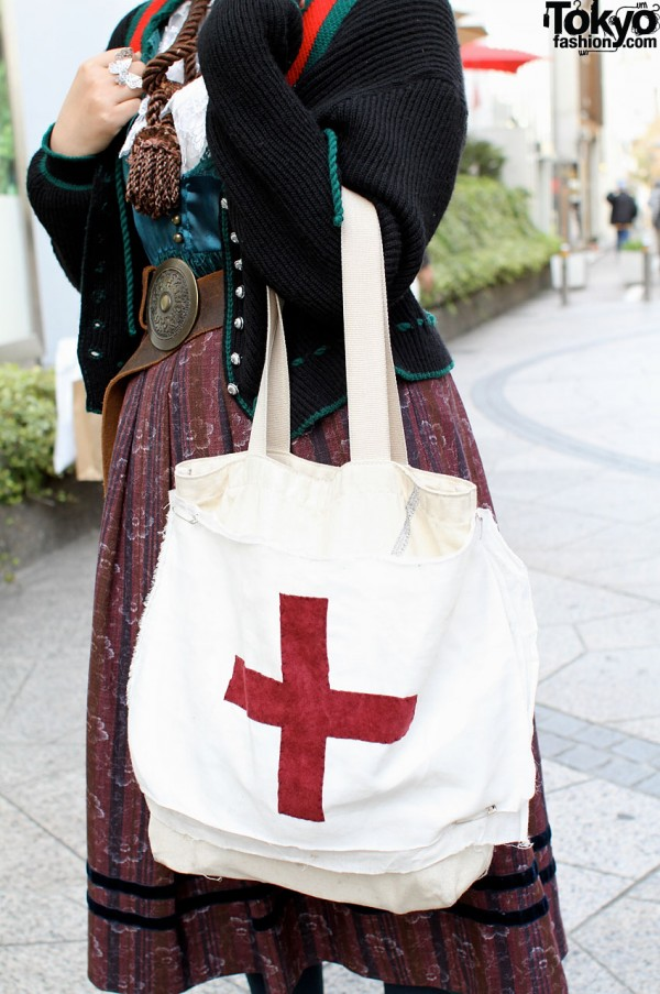 Handmade Bag with Red Cross Decoration