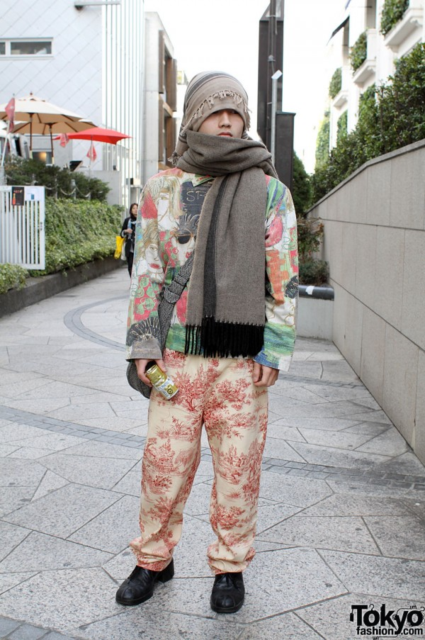 Japanese Guy with Pop Art Jacket & Toile Pants
