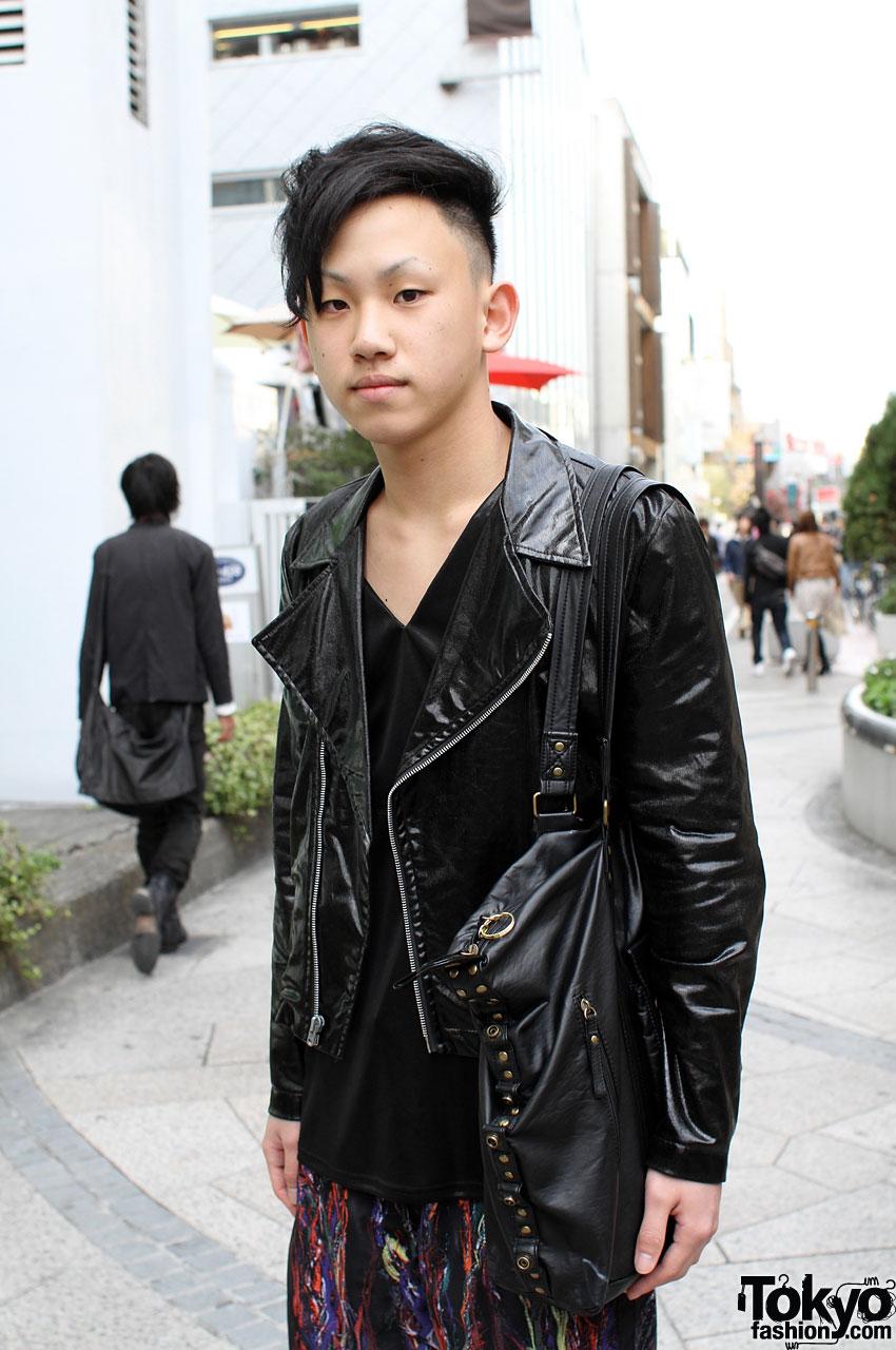 Cool Japanese Guy in Motorcycle Jacket &amp Leggings - Black Guy Hairstyles