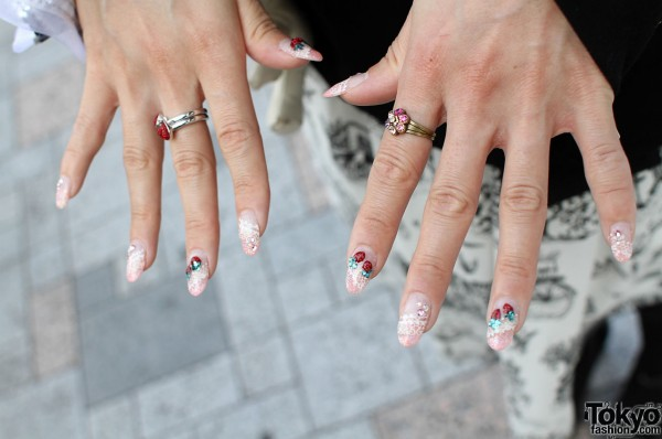 Nails decorated with Swarovski crystals
