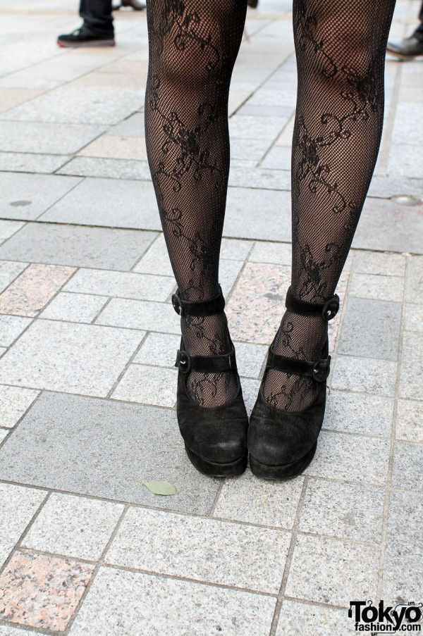 Black lace stockings and vintage shoes in Harajuku