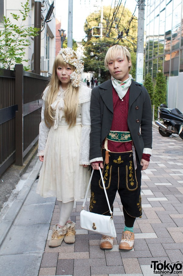 Blonde Girl & Guy with Antique Dolly Style