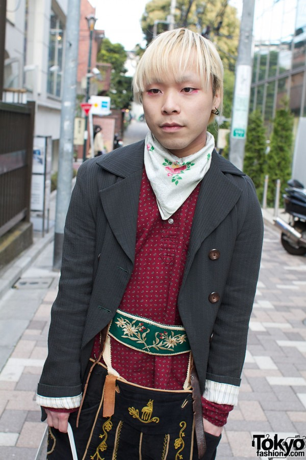 Double breasted jacket and embroidered lederhosen