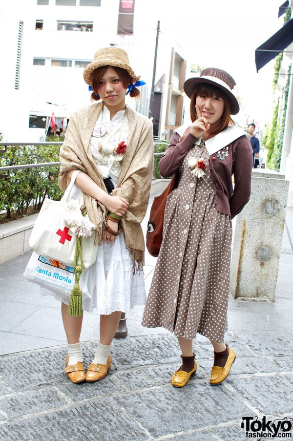 Straw Boater Hats & Lace in Harajuku