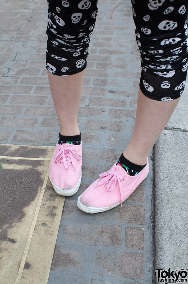 Pink resale sneakers and skull leggings