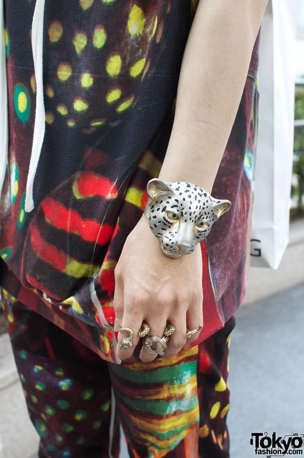Leopard head bracelet & snake rings