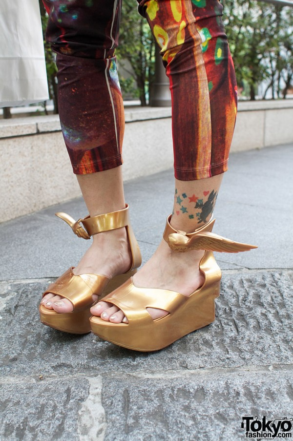 Vivienne Westwood gold winged platform sandals