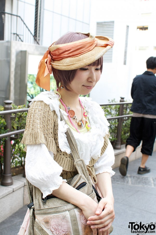 Vintage straw hat and lacy Hanjiro sweater