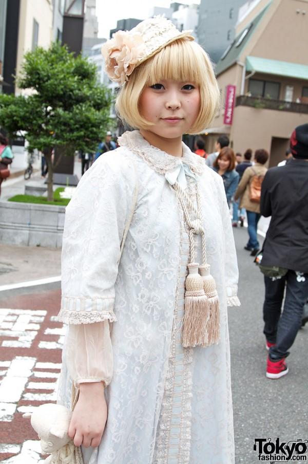 White lace dress & large tassels