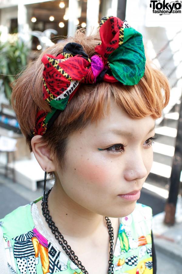Auburn hair and colorful hair bow