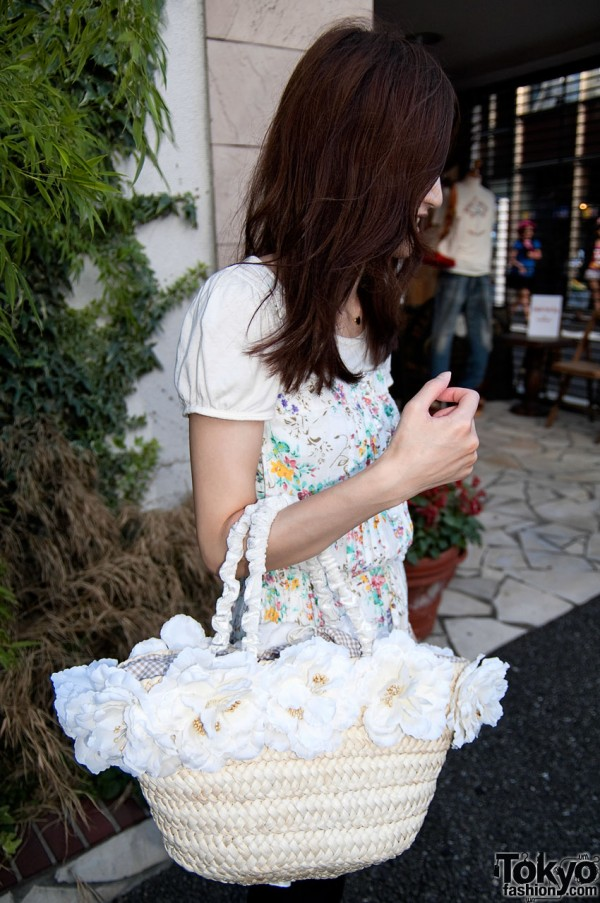 Japanese Girl's Flowery Straw Handbag