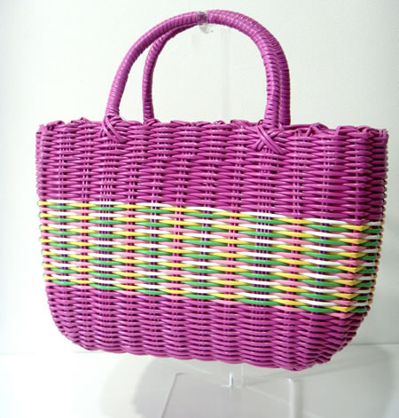 Purple Straw Handbag