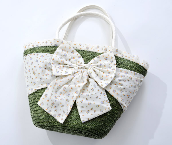 Straw Handbag With Large Bow