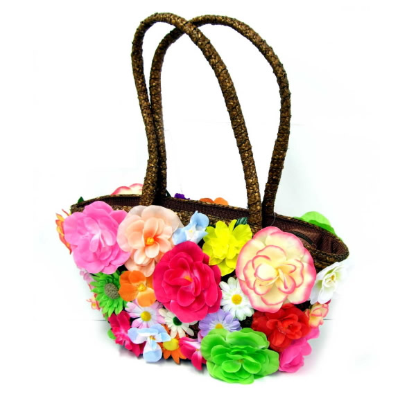 Flower-covered Straw Handbags