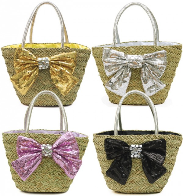 Cute Bows on Straw Purses