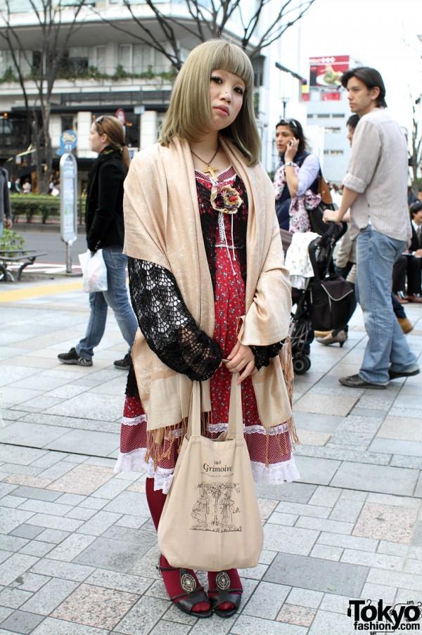 Dolly-Kei Girl in Grimoire Dress & Crochet Cardigan