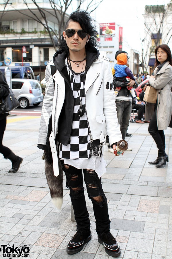 Japanese DJ in Shredded Ksubi Jeans in Harajuku