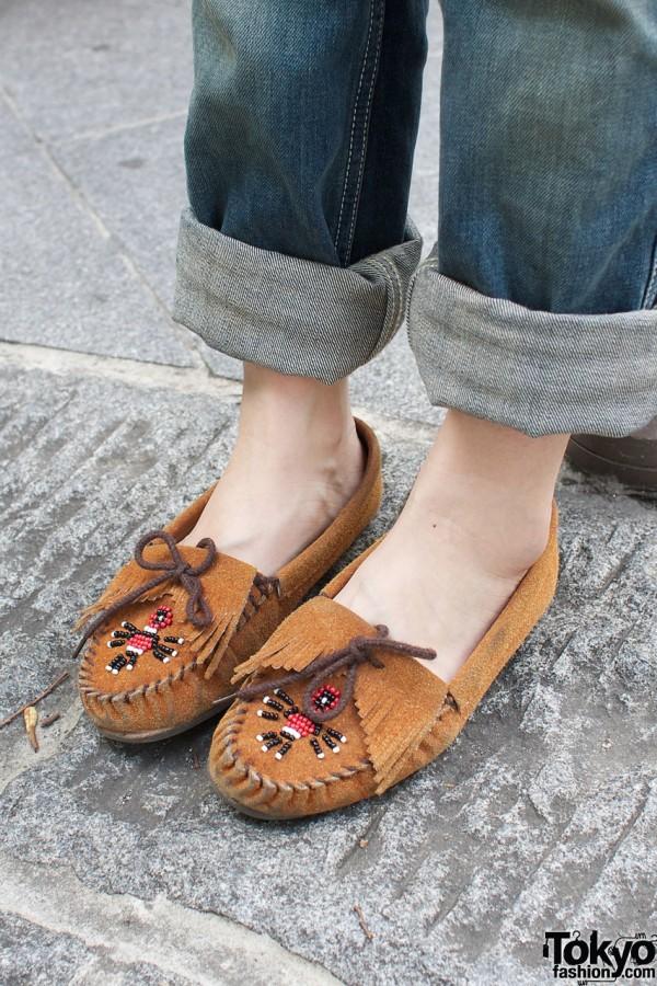 Minnetonka beaded moccasin shoes.