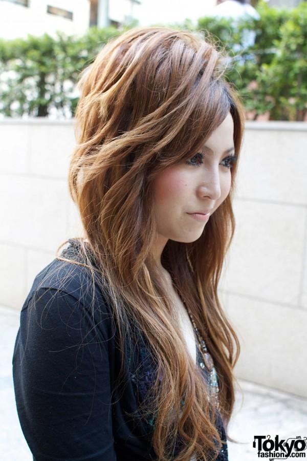 Japanese girl with long auburn hair