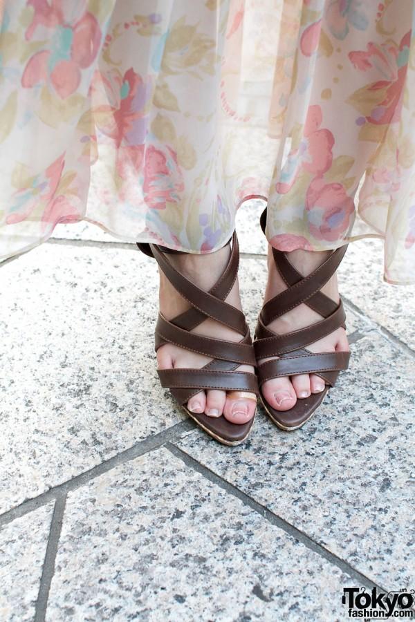 Brown high-heel sandals