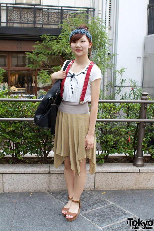 Striped Skirt & Red Suspenders in Harajuku