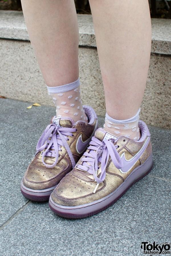 Gold & lavender Nike shoes