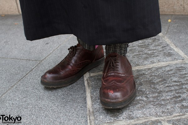 Brown wing tip shoes
