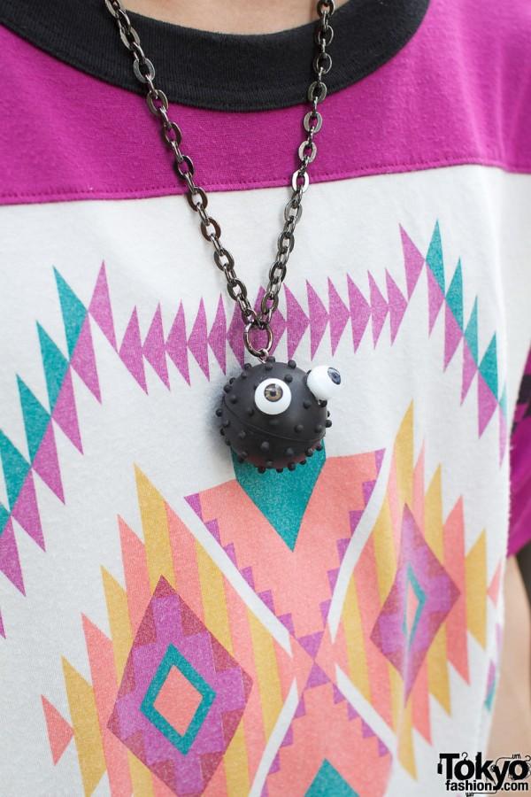 Sasquatch Fabrics top & goofy necklace