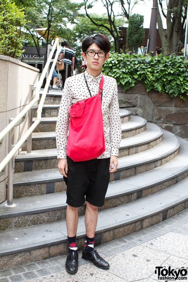 Glasses & polka dot shirt