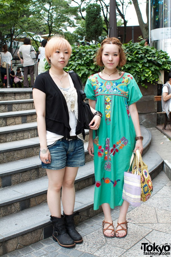 Lee denim shorts & vintage peasant dress