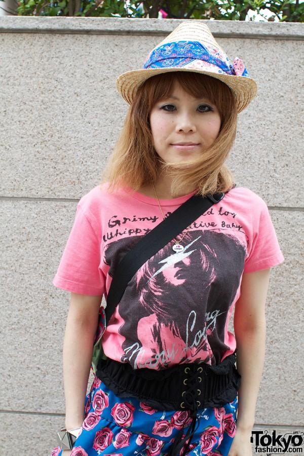 Straw hat & Candy Stripper top