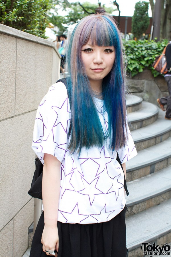 Blue hair & Super Lovers top