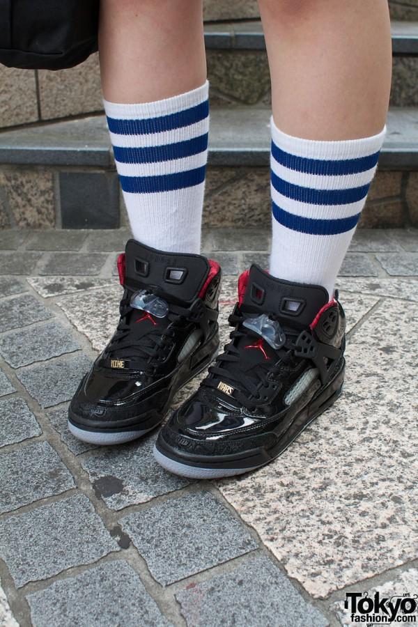 Striped socks & Nike Jordan shoes