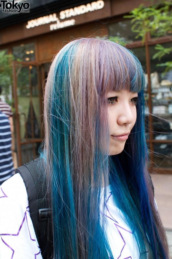 Blue & auburn hair